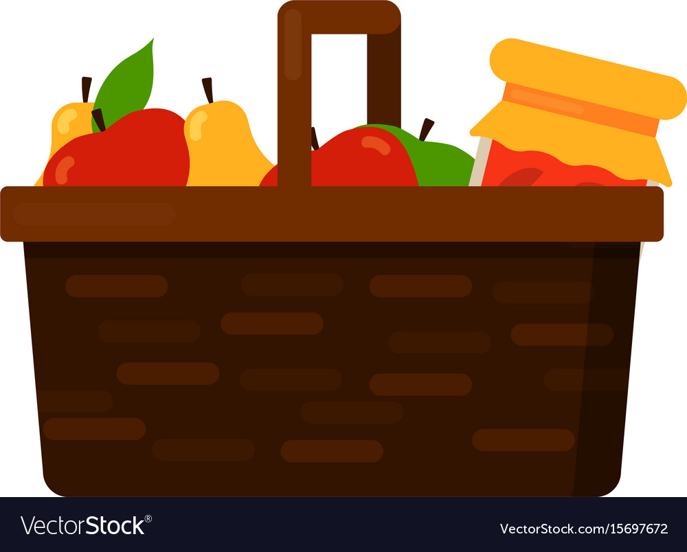 Wicker basket with fruits apple and pear and jam