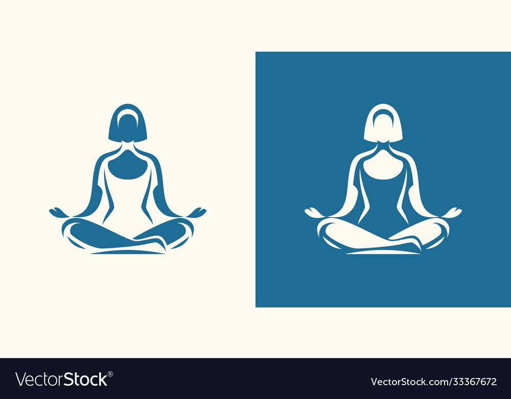 Yoga logo girl sitting in lotus position