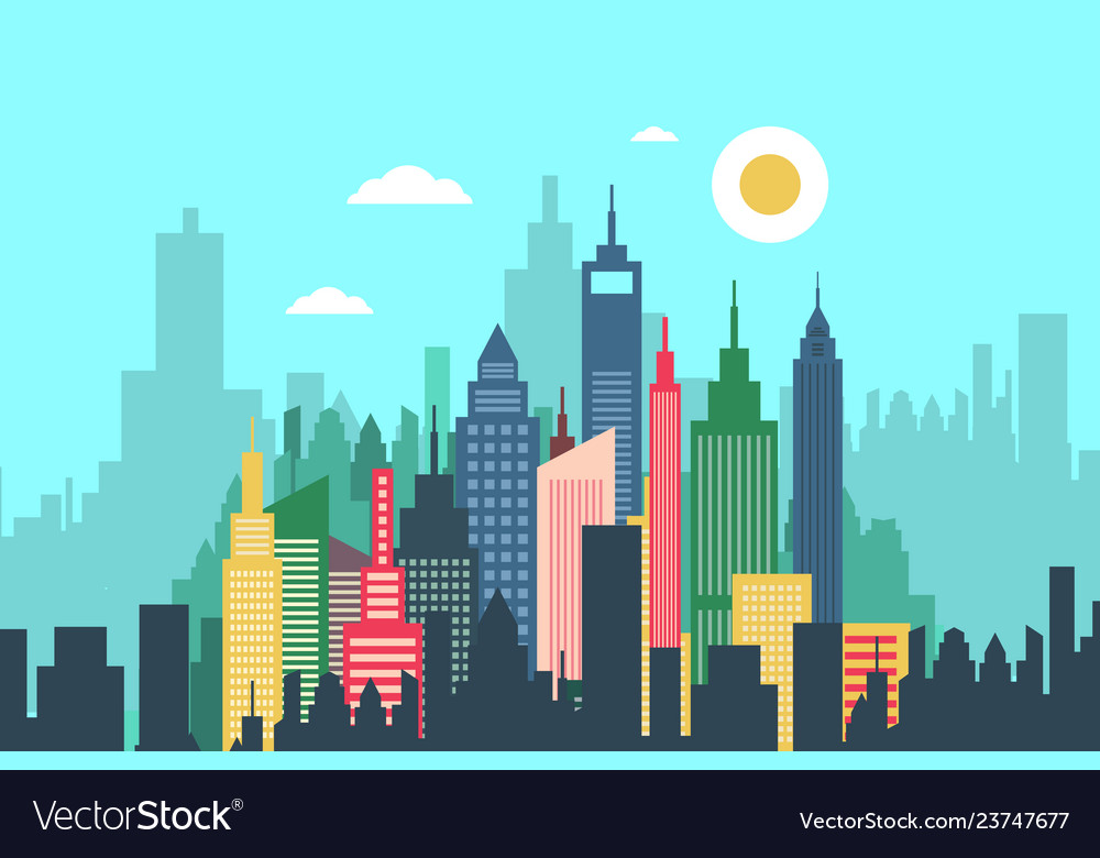 Abstract city with high buildings - skyscrapers