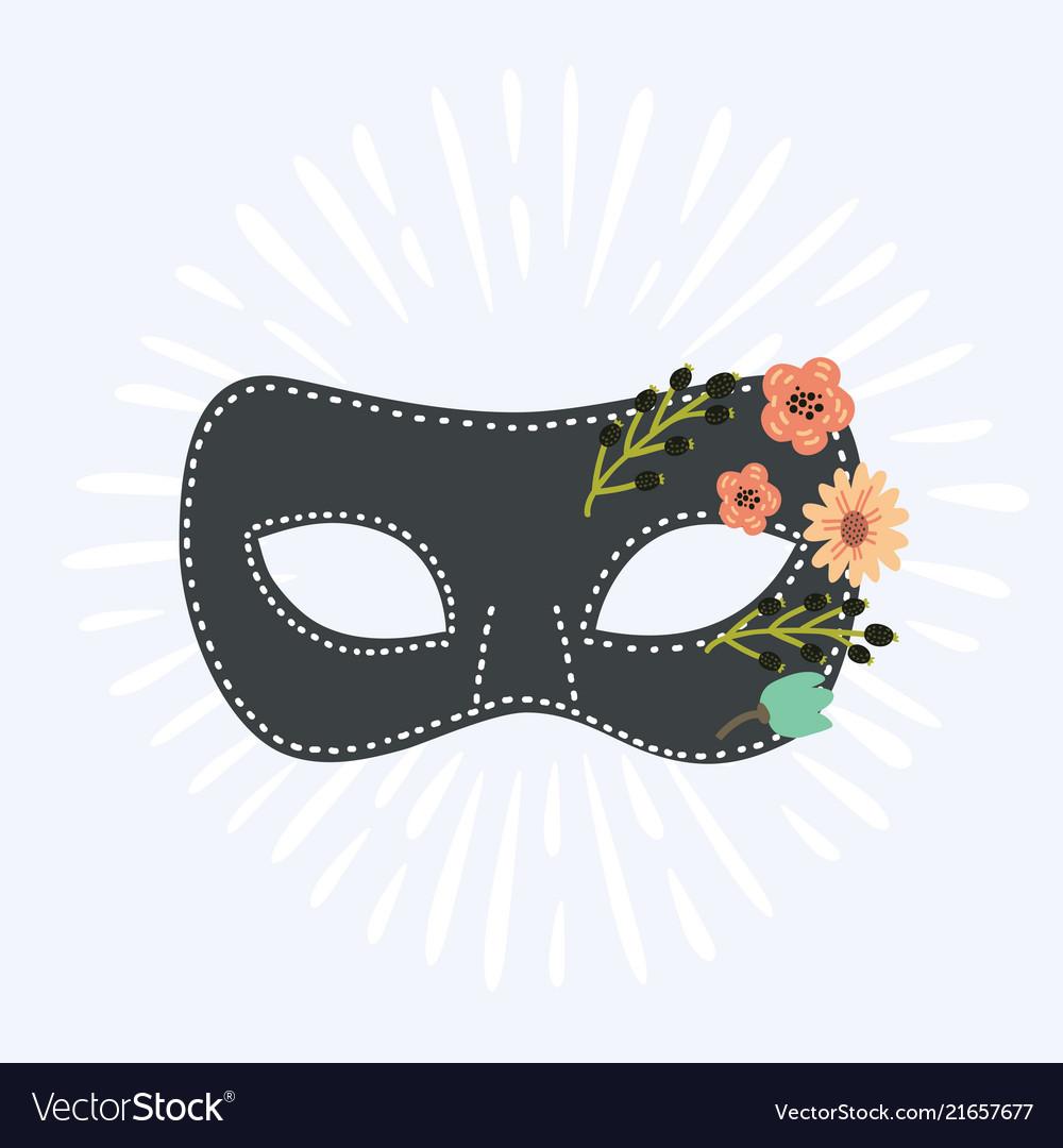 Blue venetian carnival mask with flower