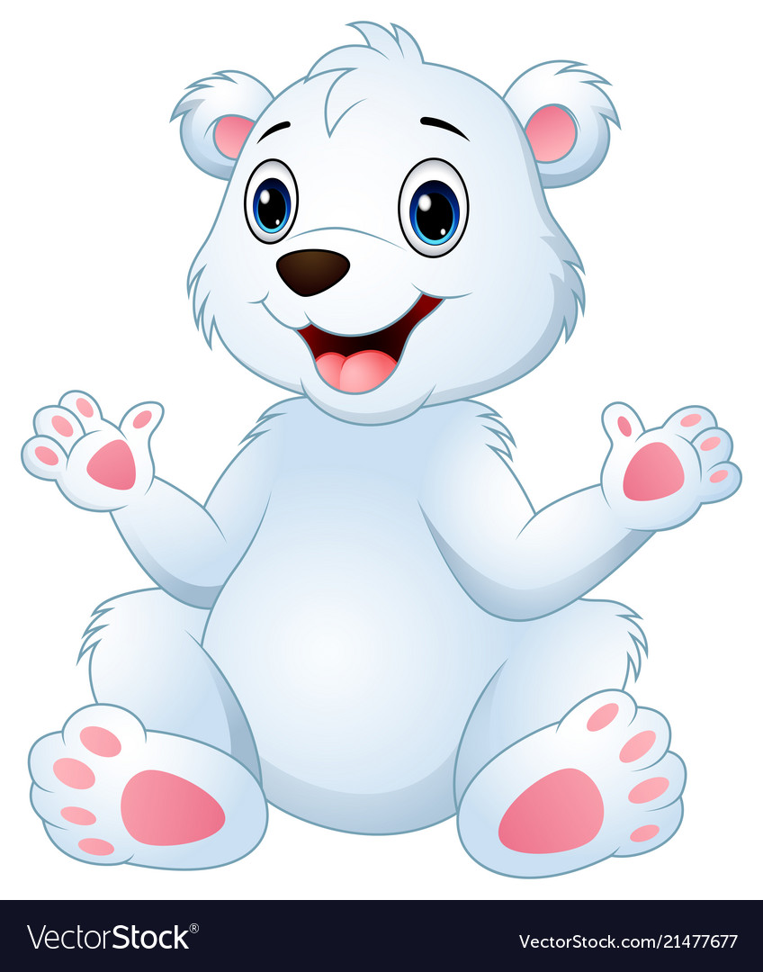 Cartoon Funny Polar Bear Sitting Royalty Free Vector Image