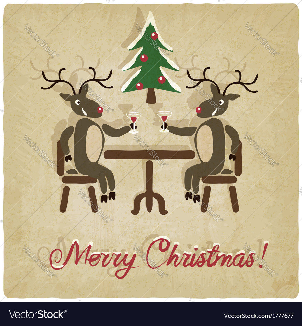 Christmas background with deers vector image