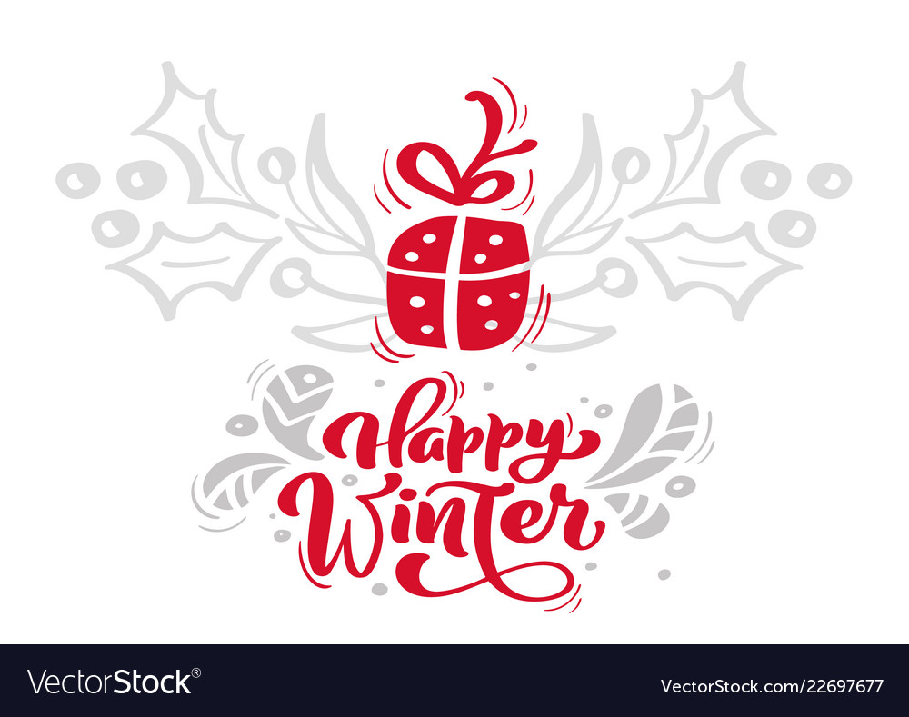 Christmas red happy winter calligraphy lettering