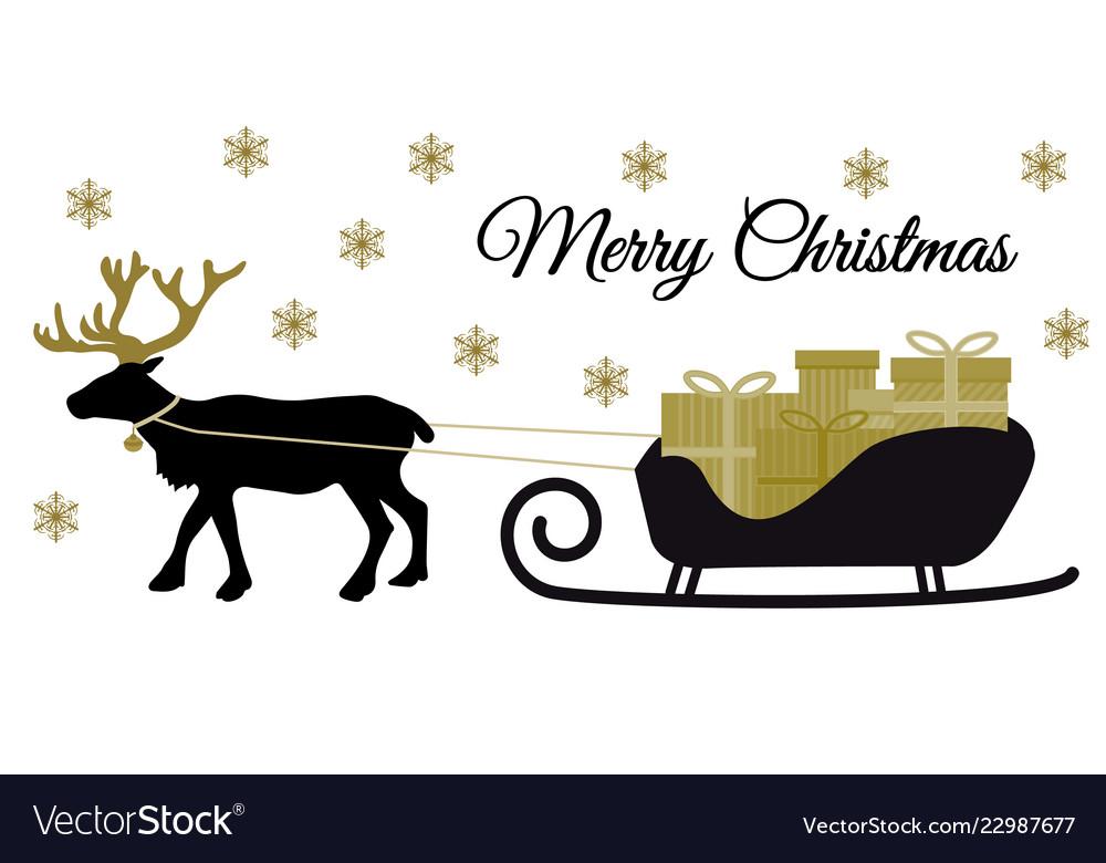 Christmas reindeer with collar and pile of