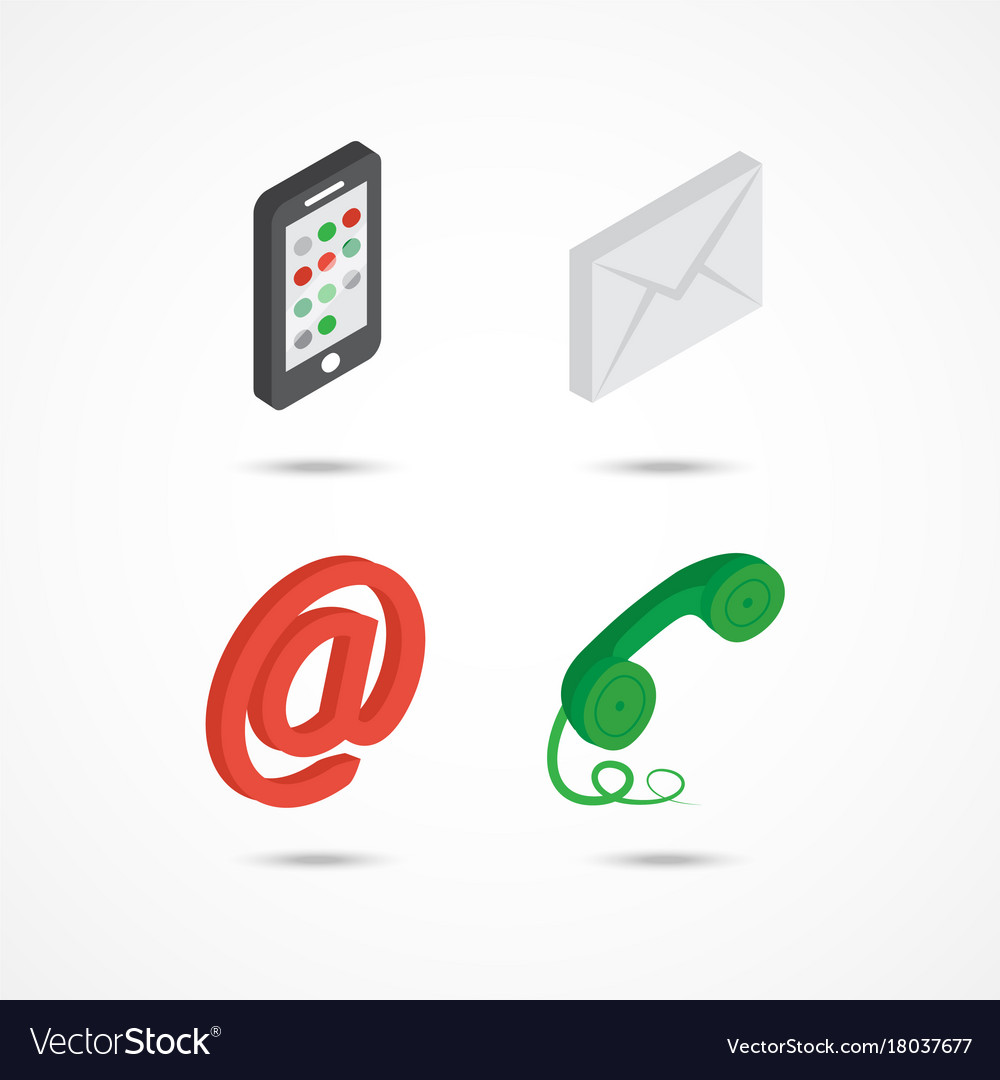 Contact isometric icons 3d