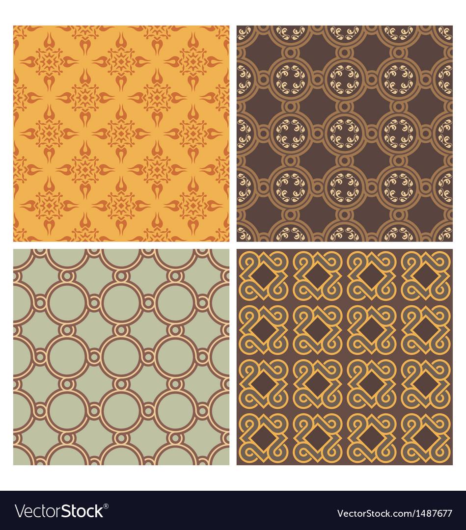 Four decorative symmetric seamless patterns
