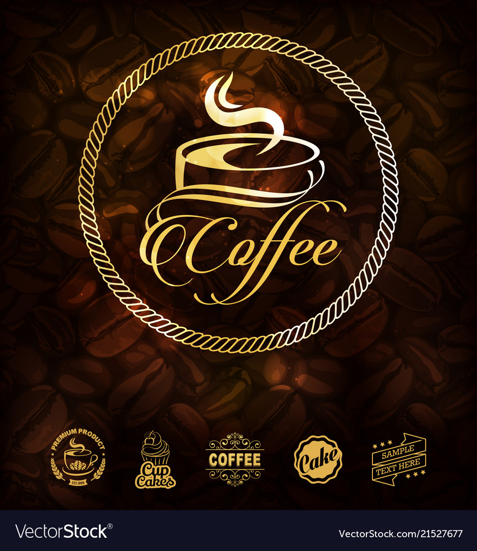 Golden coffee labels and coffee beans background