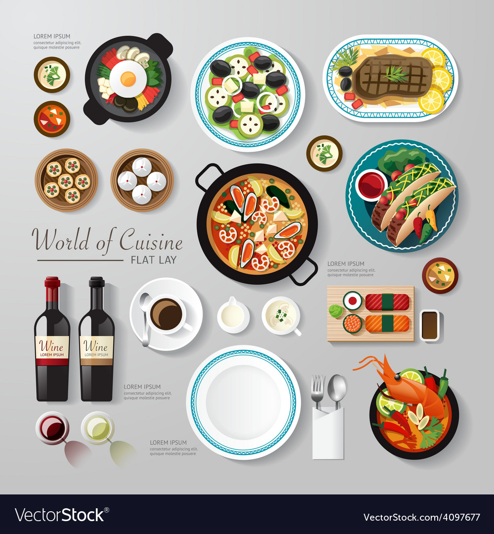 Infographic food business flat lay idea hipster