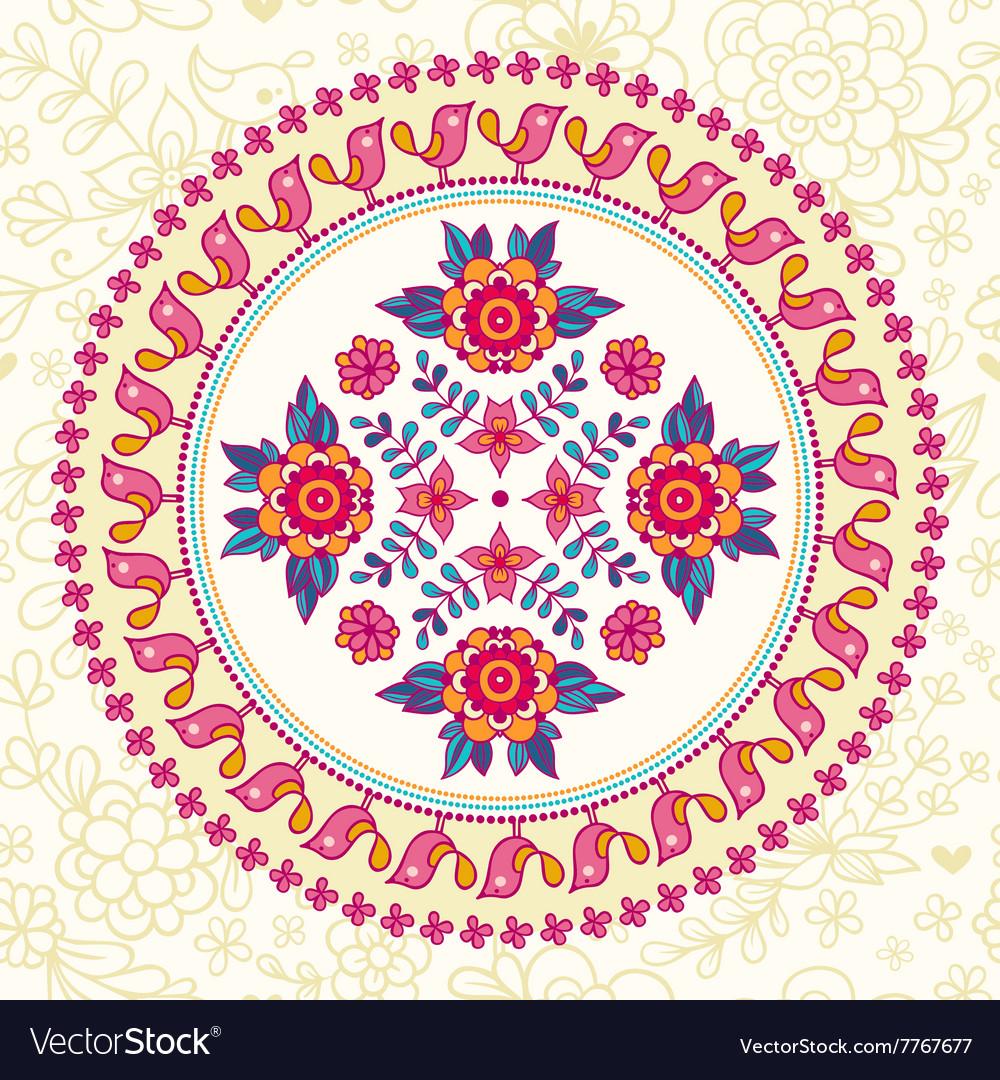Ornamental round lace Ethnic seamless pattern