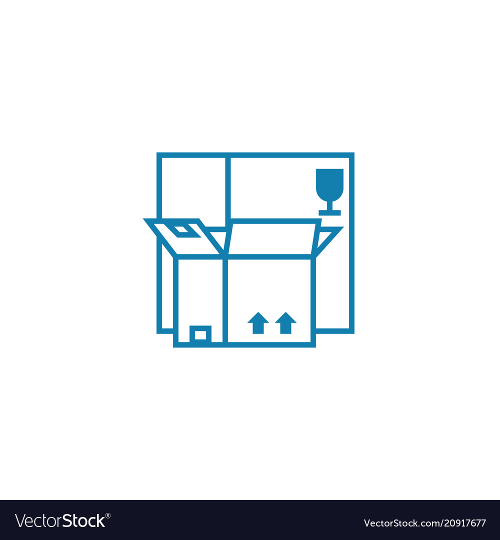 Package for merchandise linear icon concept