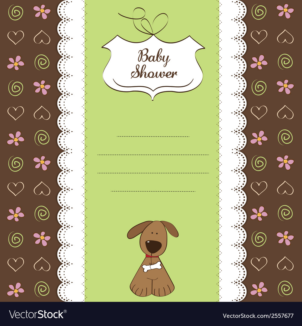 Romantic Baby Shower Card With Dog Vector Image