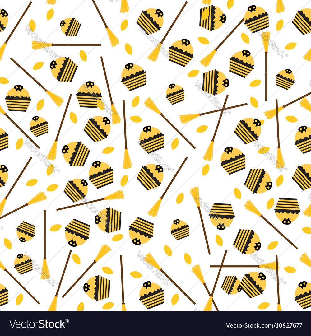 Seamless Pattern with Cake Leaves and Broom