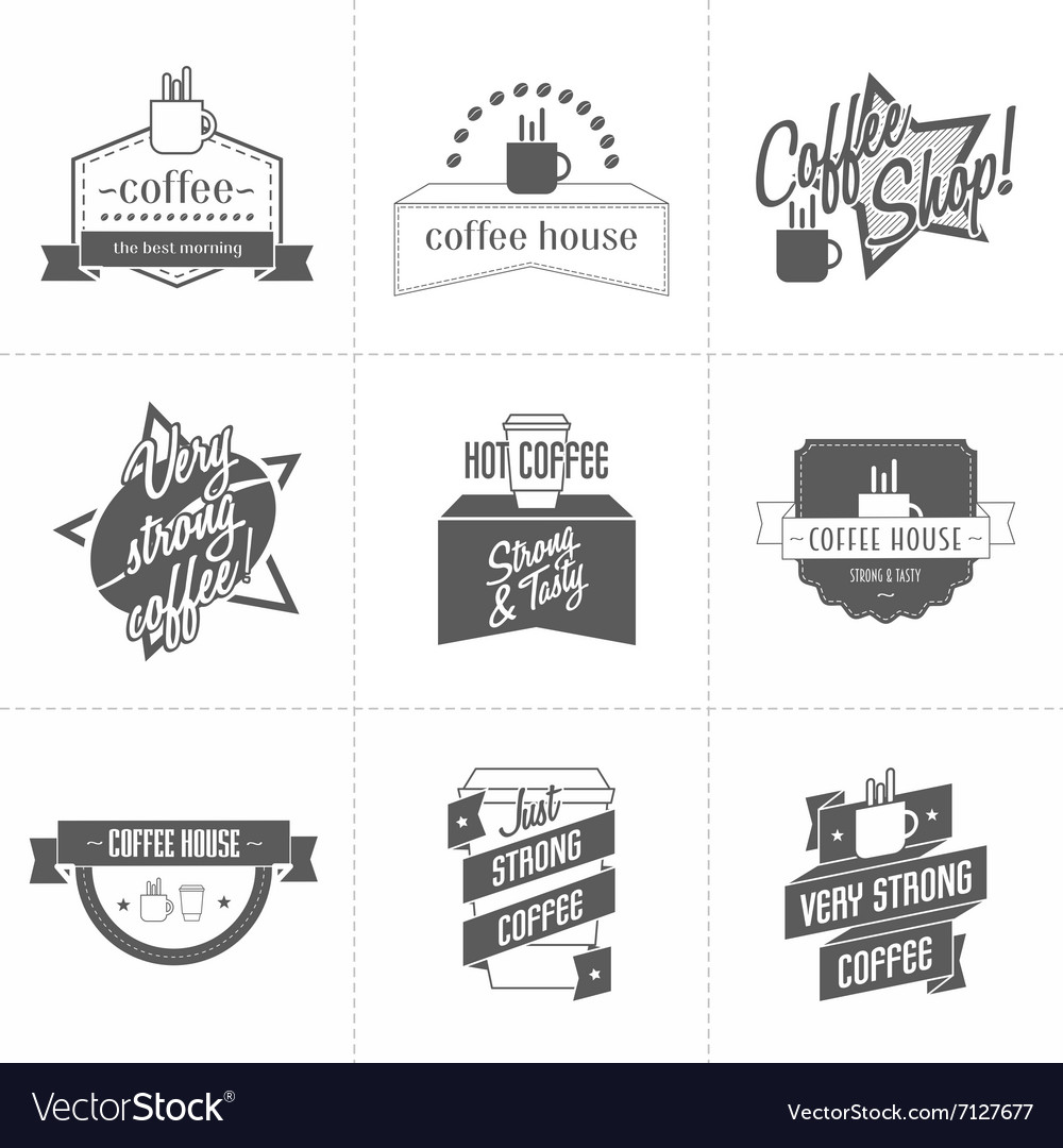 Set of different coffee shop logo templates vector image