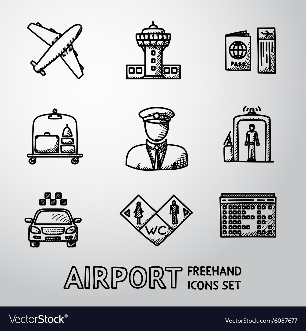 Set of handdrawn AIRPORT icons - airplane airport