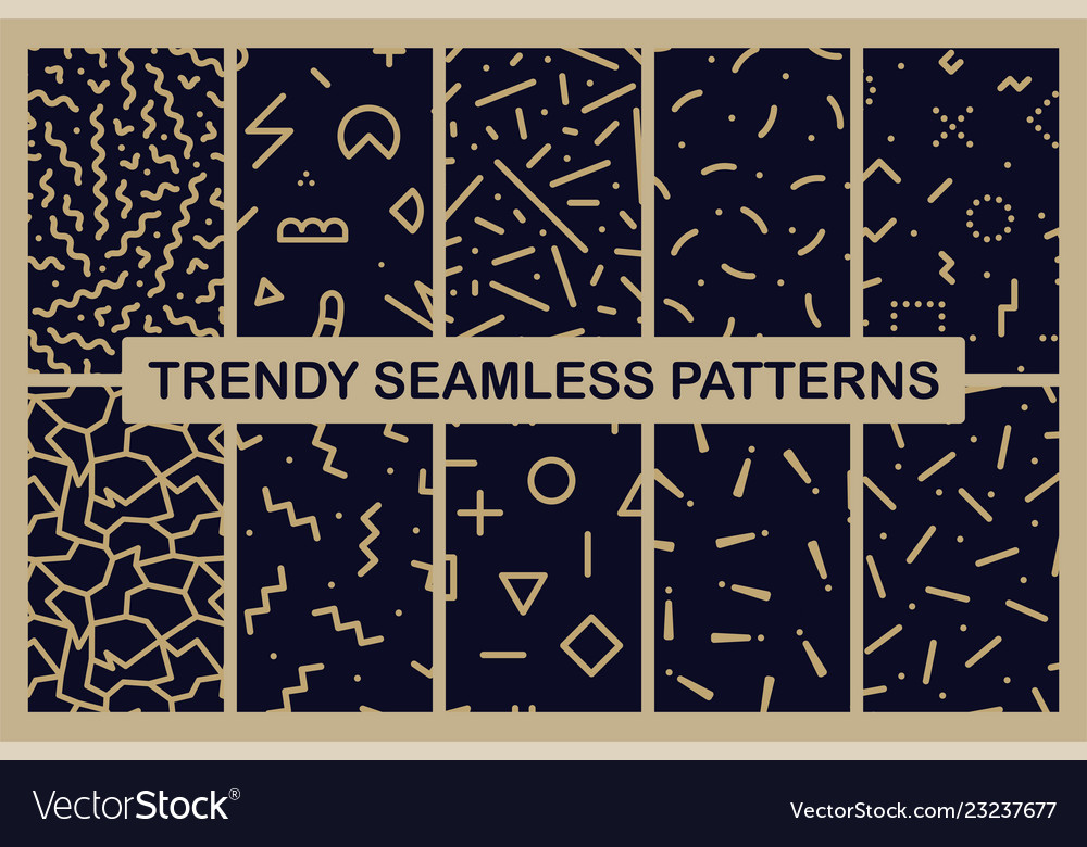 Set of memphis seamless patterns fashion 80-90s
