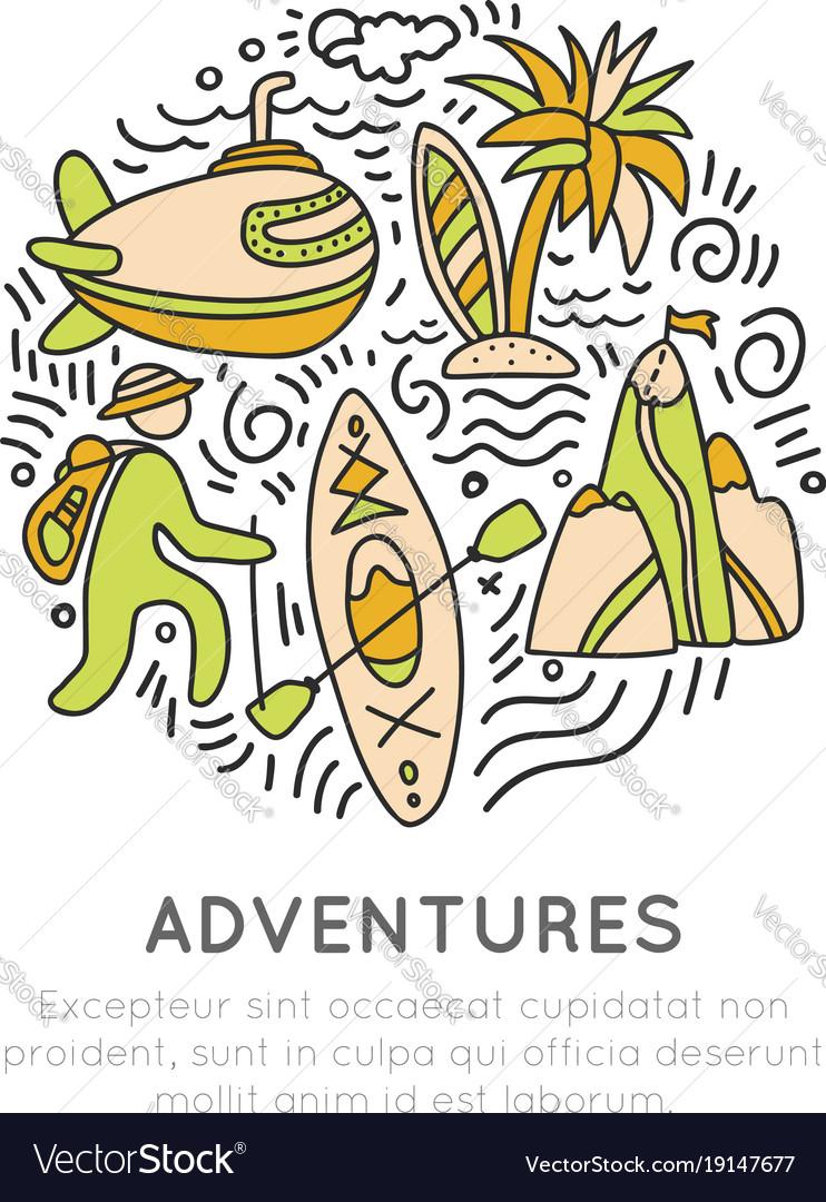 Travel outdoor adventure hand draw icon concept