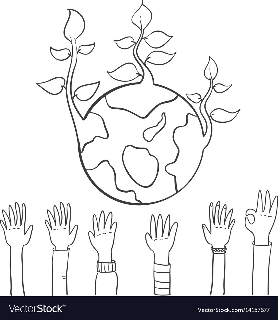 World hand draw earth day vector image