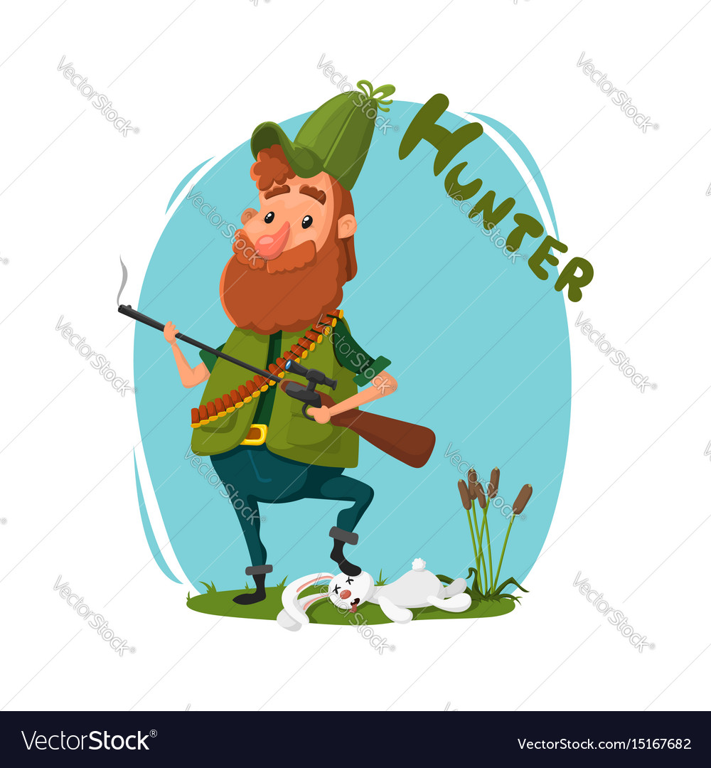 A hunter with a gun got a rabbit cartoon
