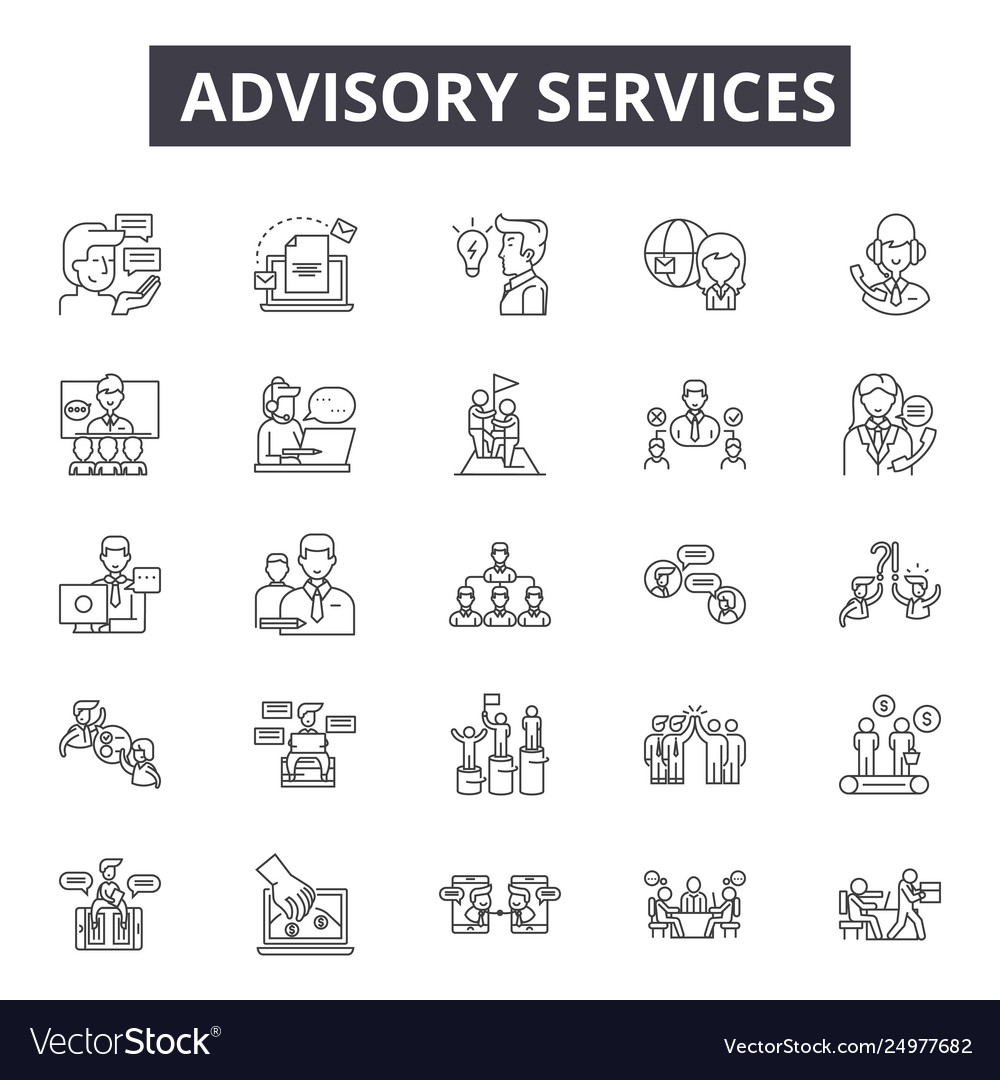 Advisory services line icons signs set