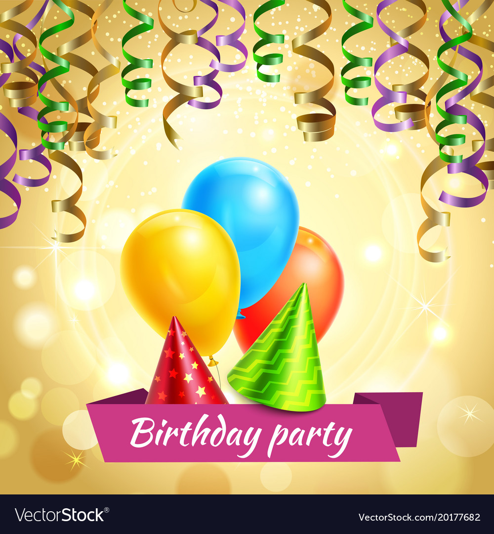 Birthday celebration decorations realistic