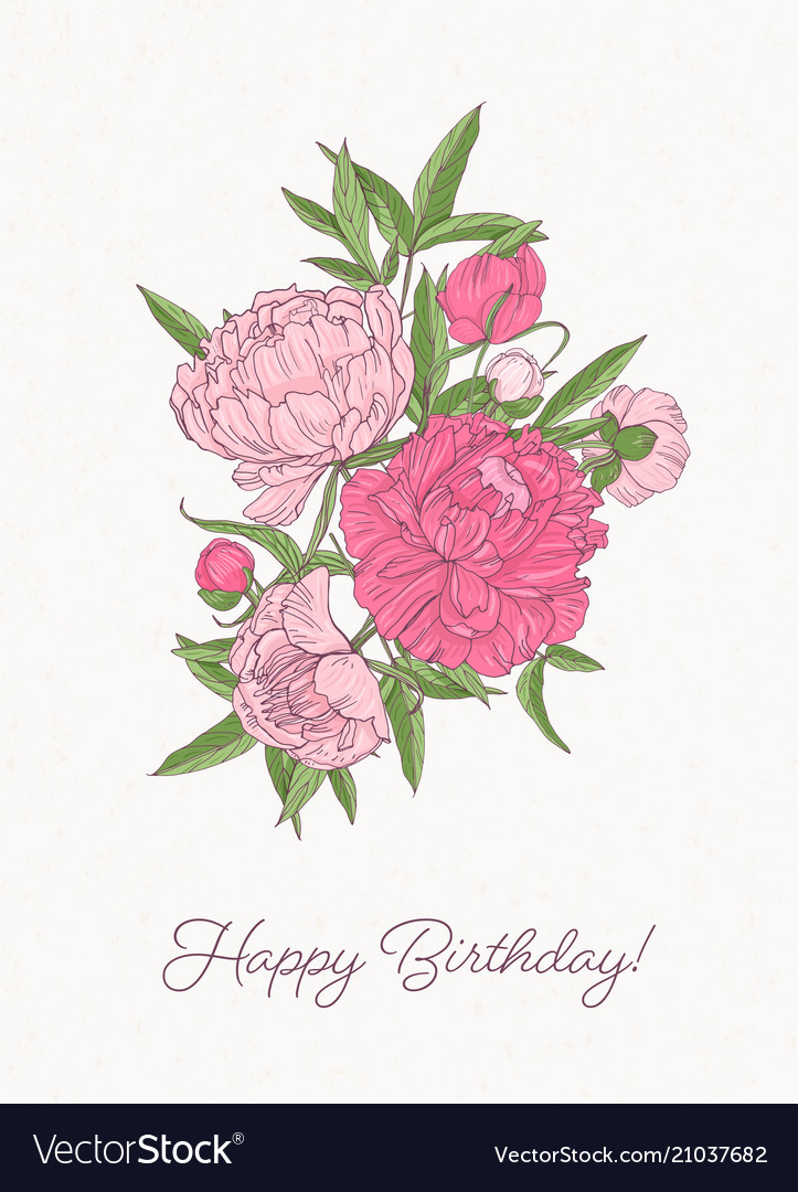 Birthday greeting card template with bunch of