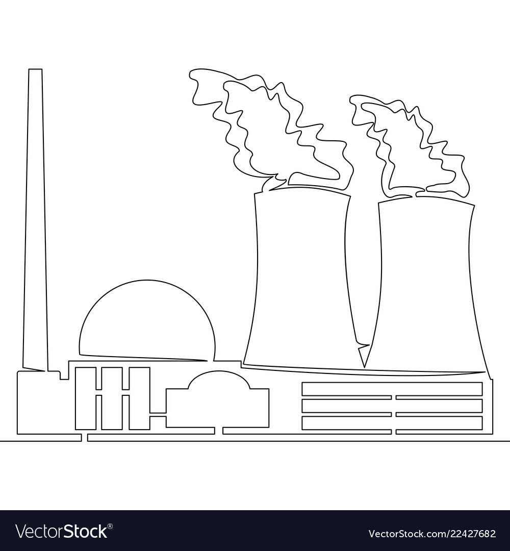 Continuous Line Nuclear Power Plant Concept Vector Image Diagram And Explanation