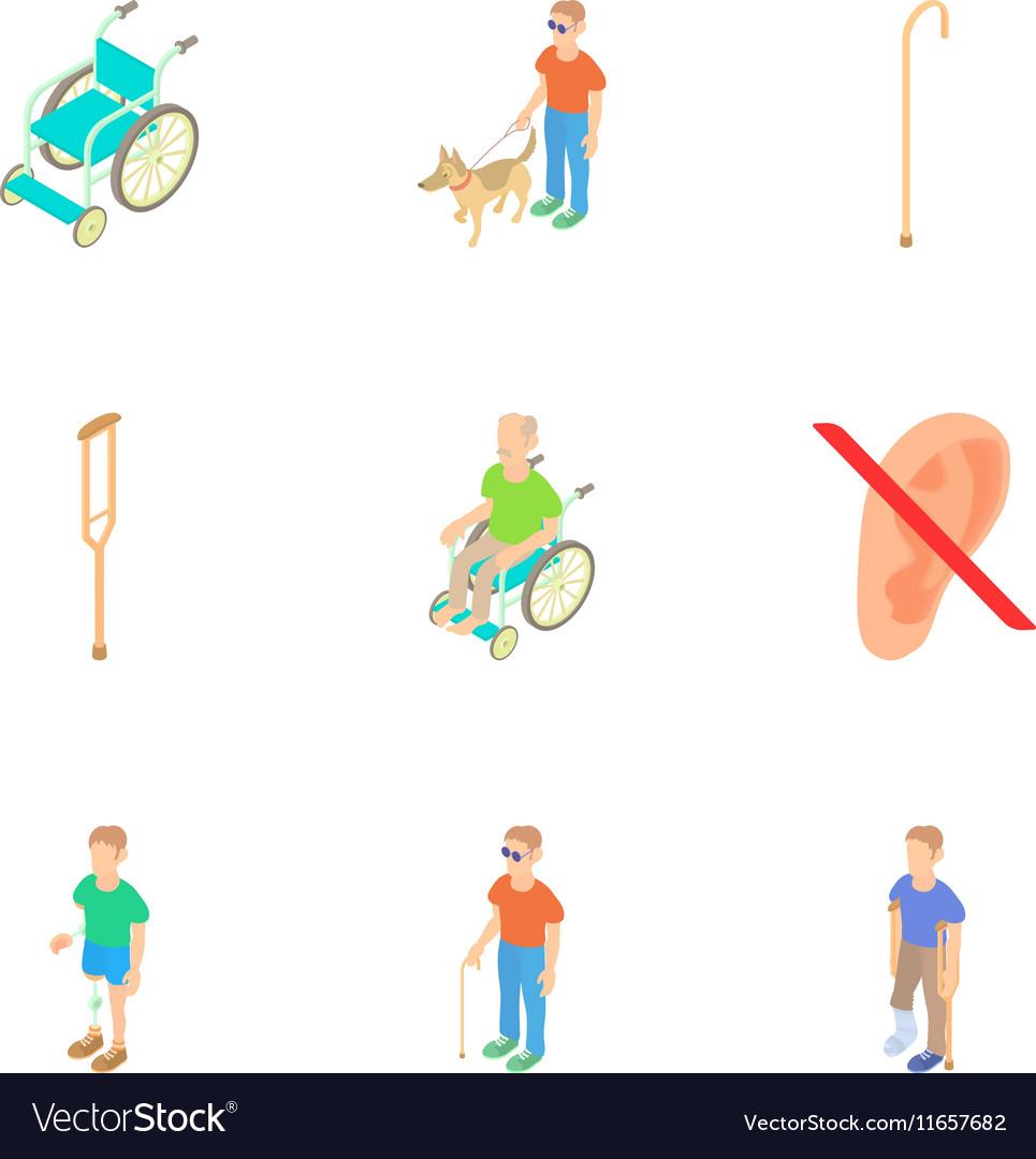 Disability people icons set cartoon style
