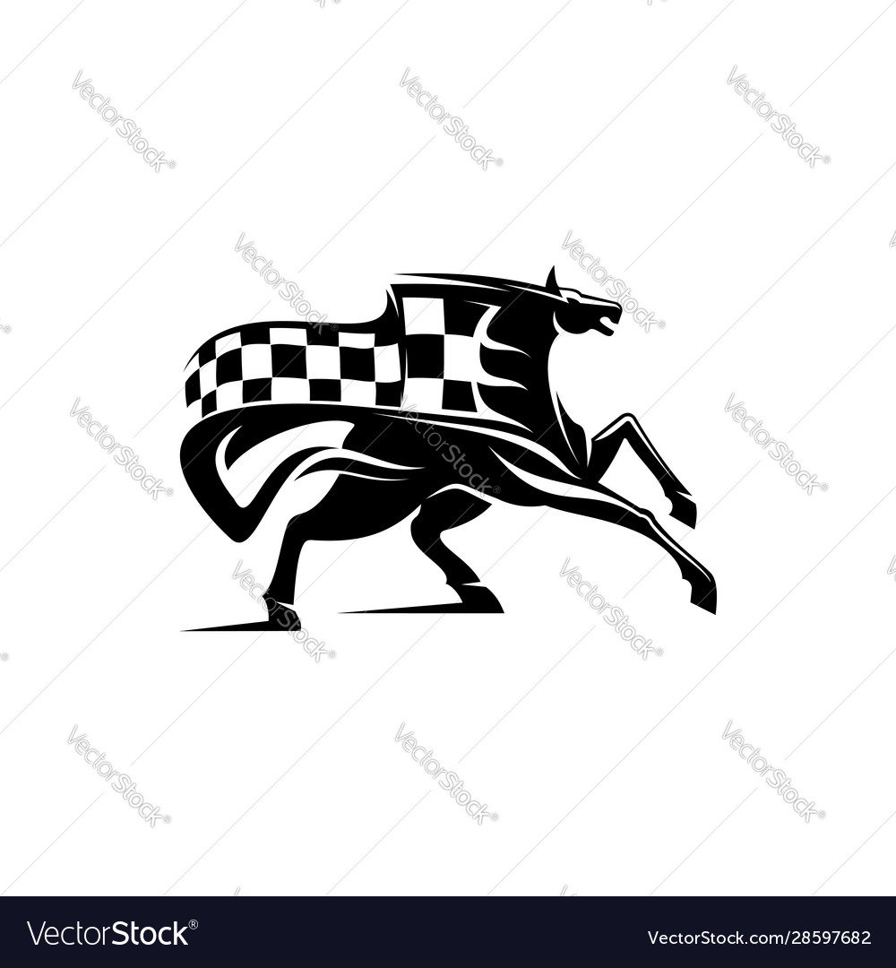 Equestrian sport mascot mustang checkered flag