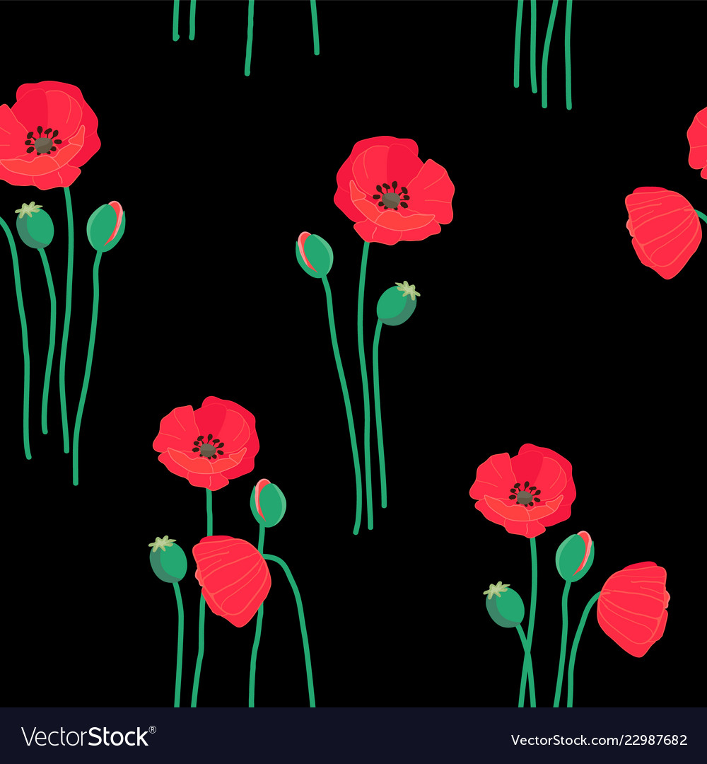 Floral seamless pattern with red poppy flowers