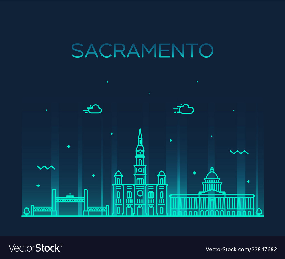 Sacramento skyline california usa line city
