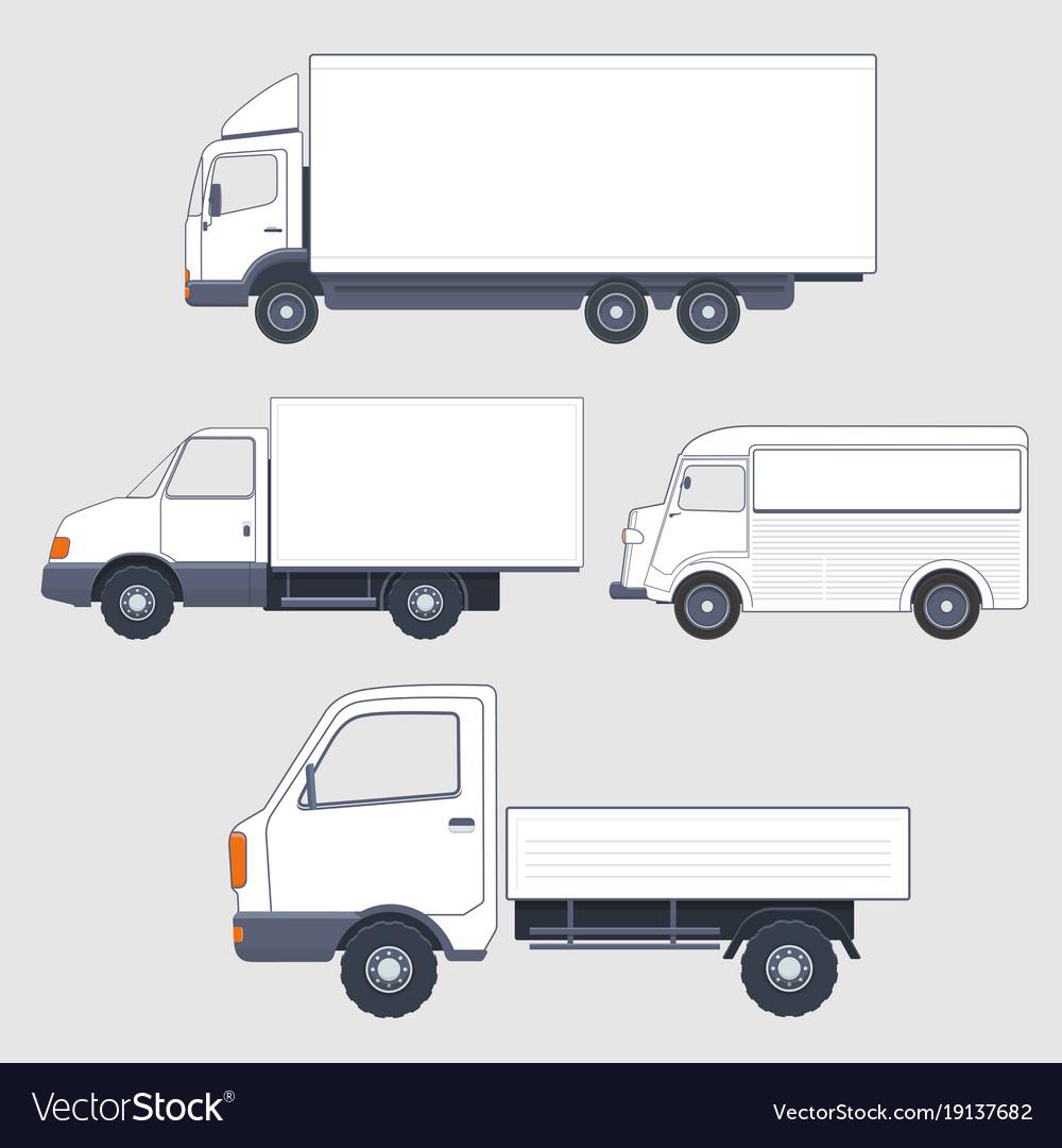 Set of different trucks and van truck bodies