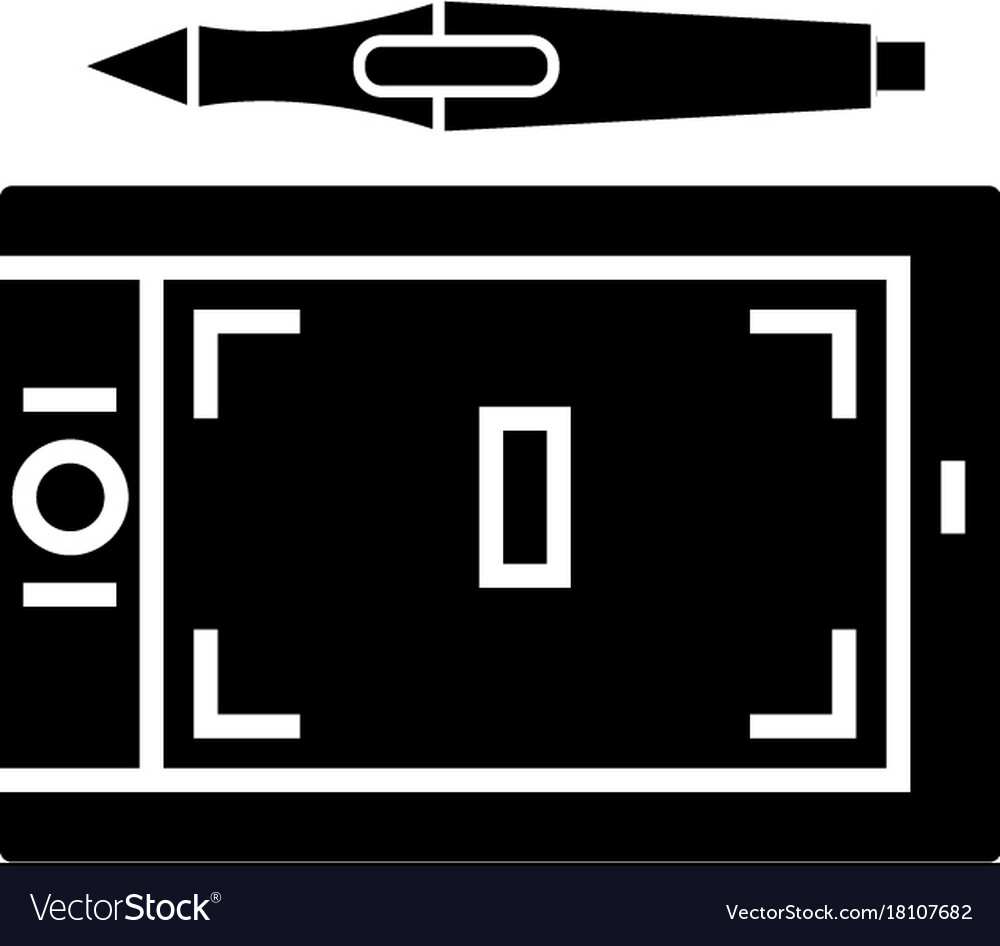 Tablet graphic icon black vector image