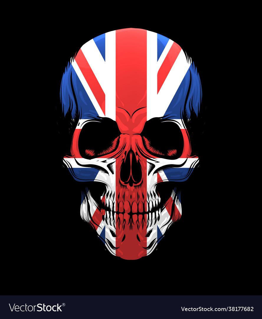 United kingdom flag skull