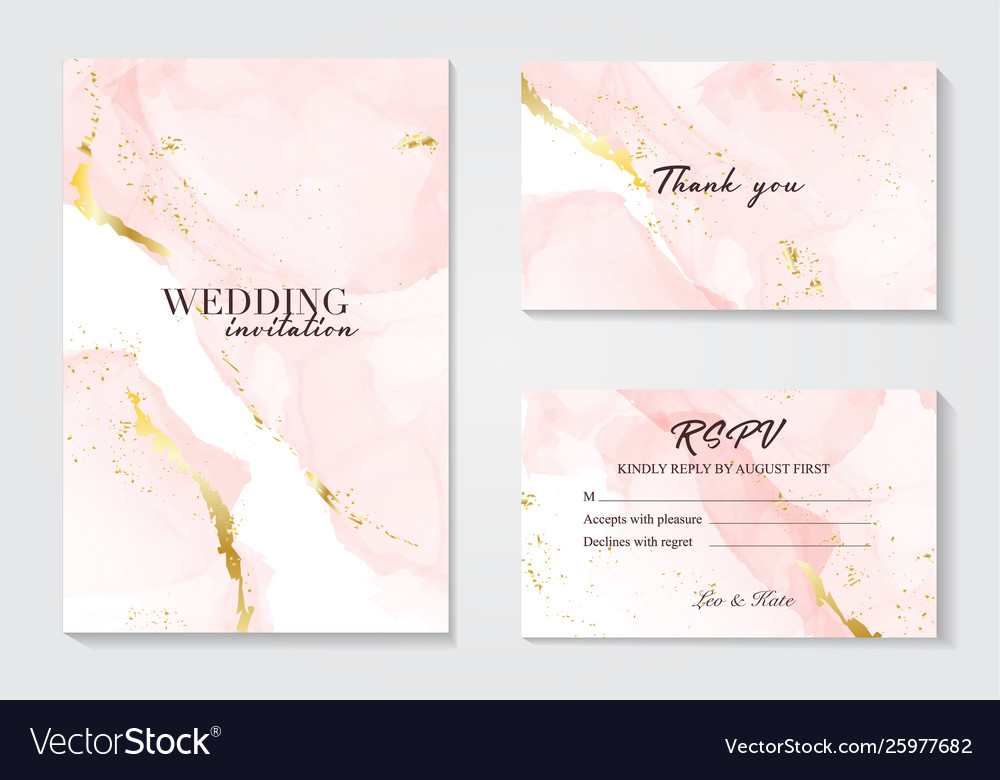 Wedding invitation set with liguid fluis