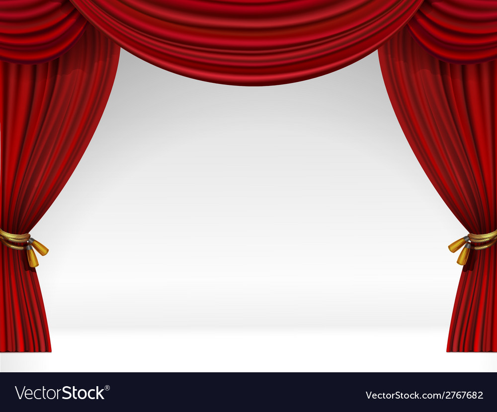 White Scene With Isolated Red Curtains Vector Image