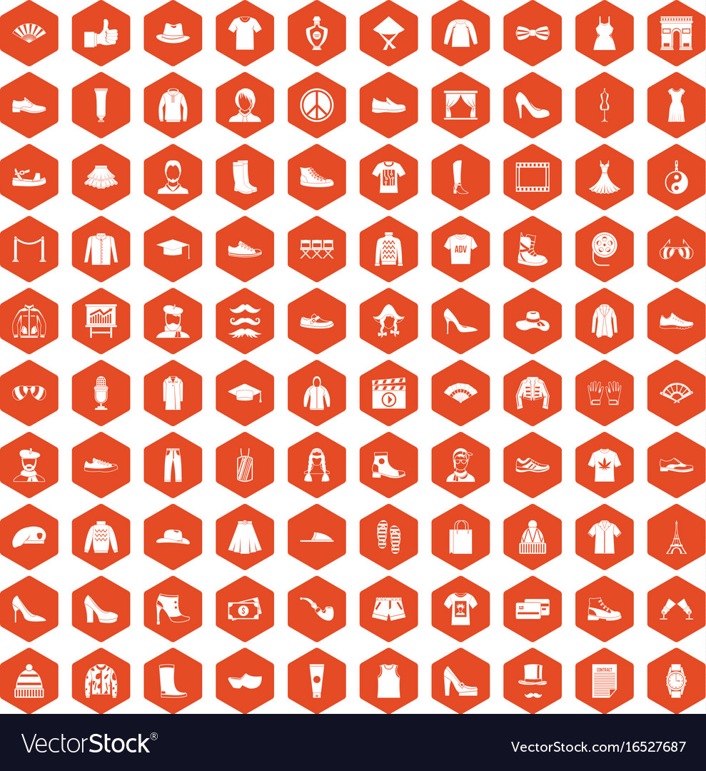 100 fashion icons hexagon orange vector image