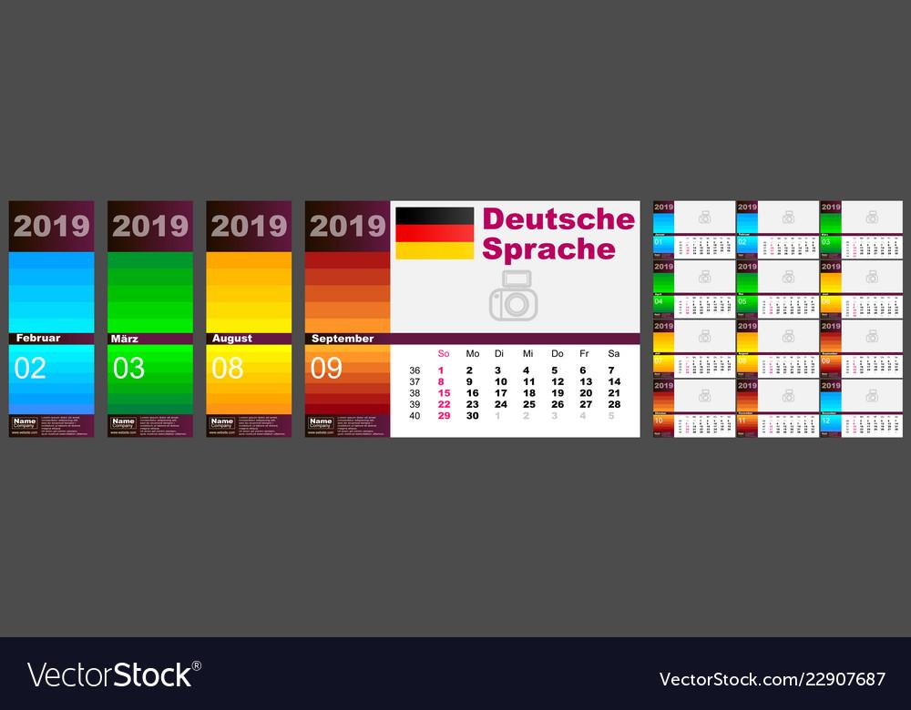 Calendar deutsch 2019 german language standard us