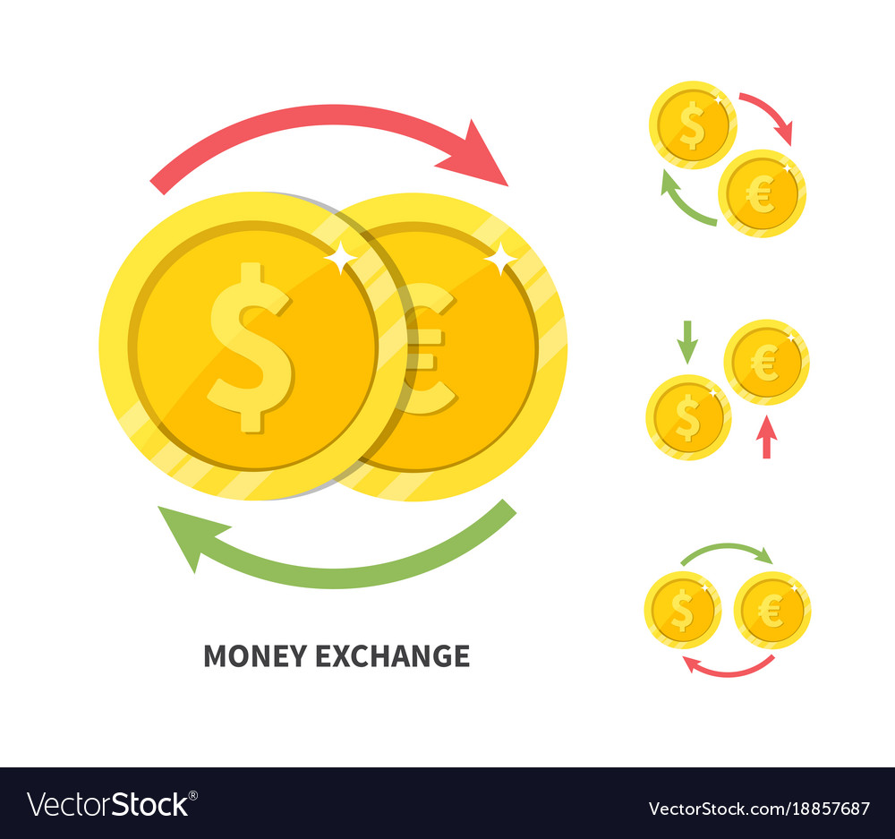 Currency exchange symbol flat