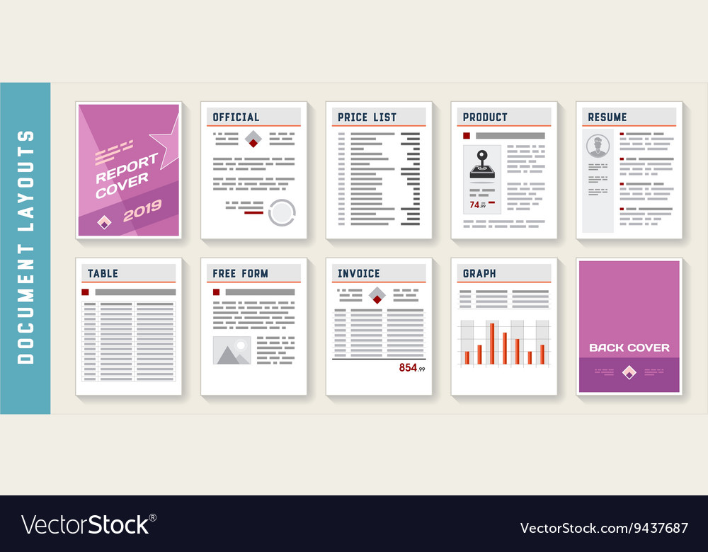 Document Report Layout Templates Set vector image