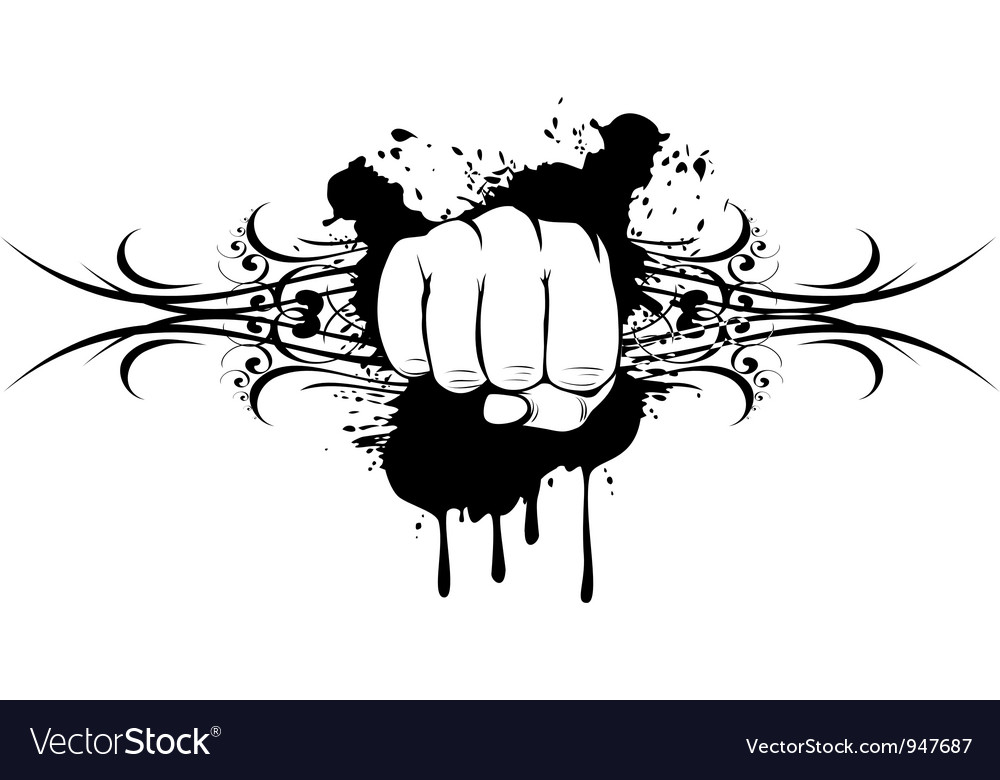 Fist and patterns vector image
