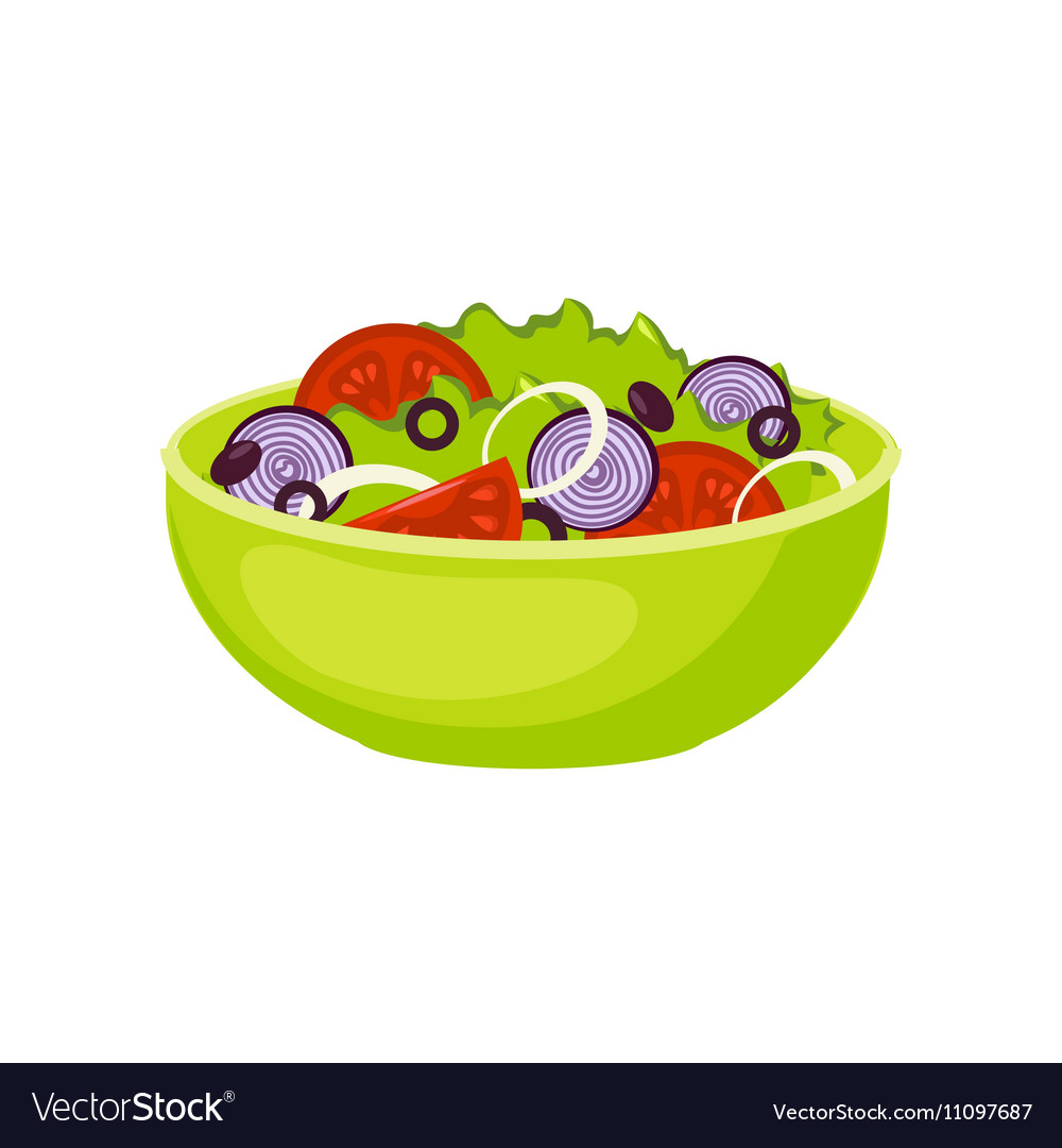 Fresh Salad Breakfast Food Element Isolated Icon vector image