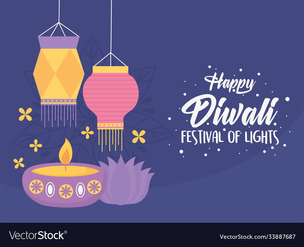 Happy diwali festival candle in diya lamp