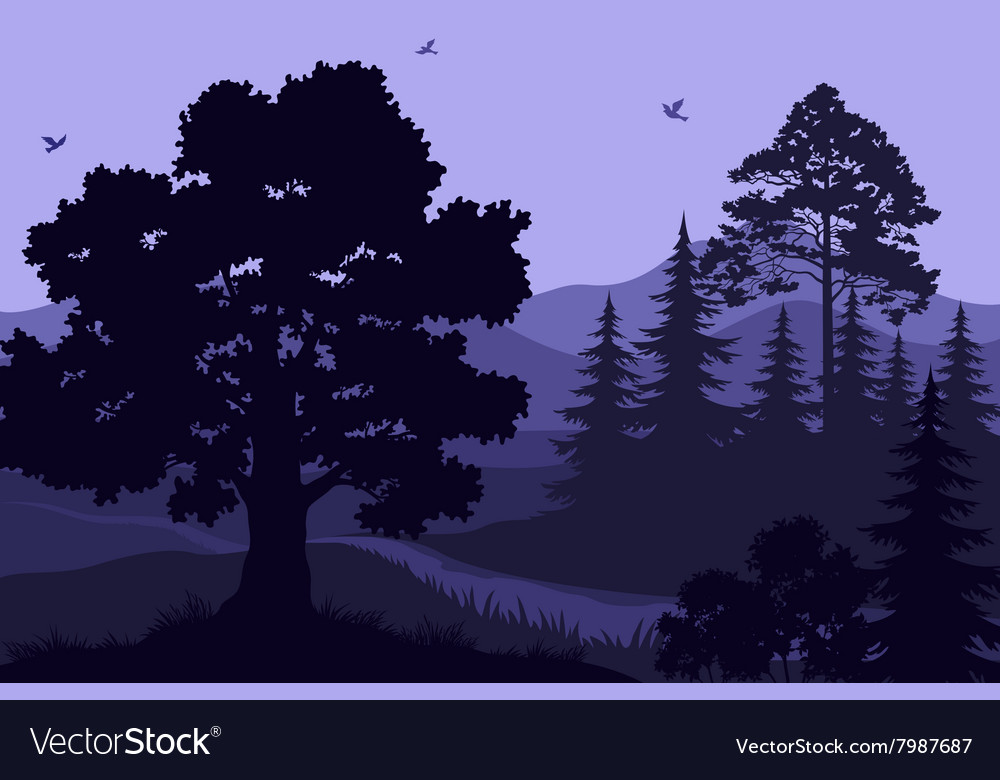 Landscape Trees Mountains and Birds vector image