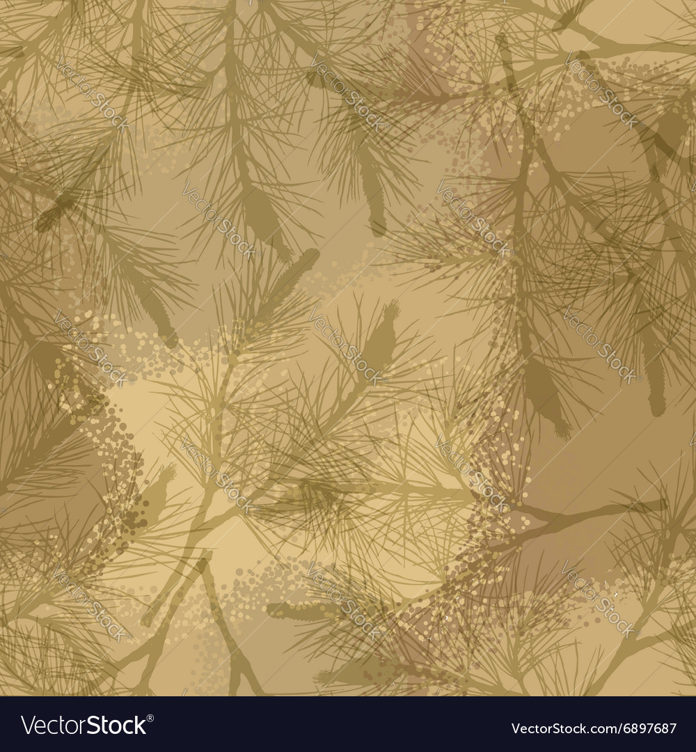 Pine branch seamless pattern camouflage sand