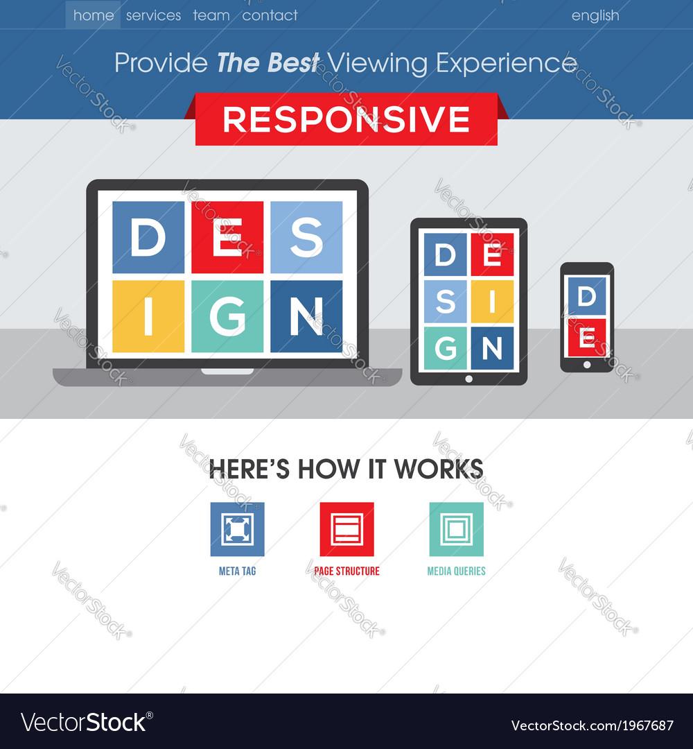 Responsive Design Website Template Royalty Free Vector Image