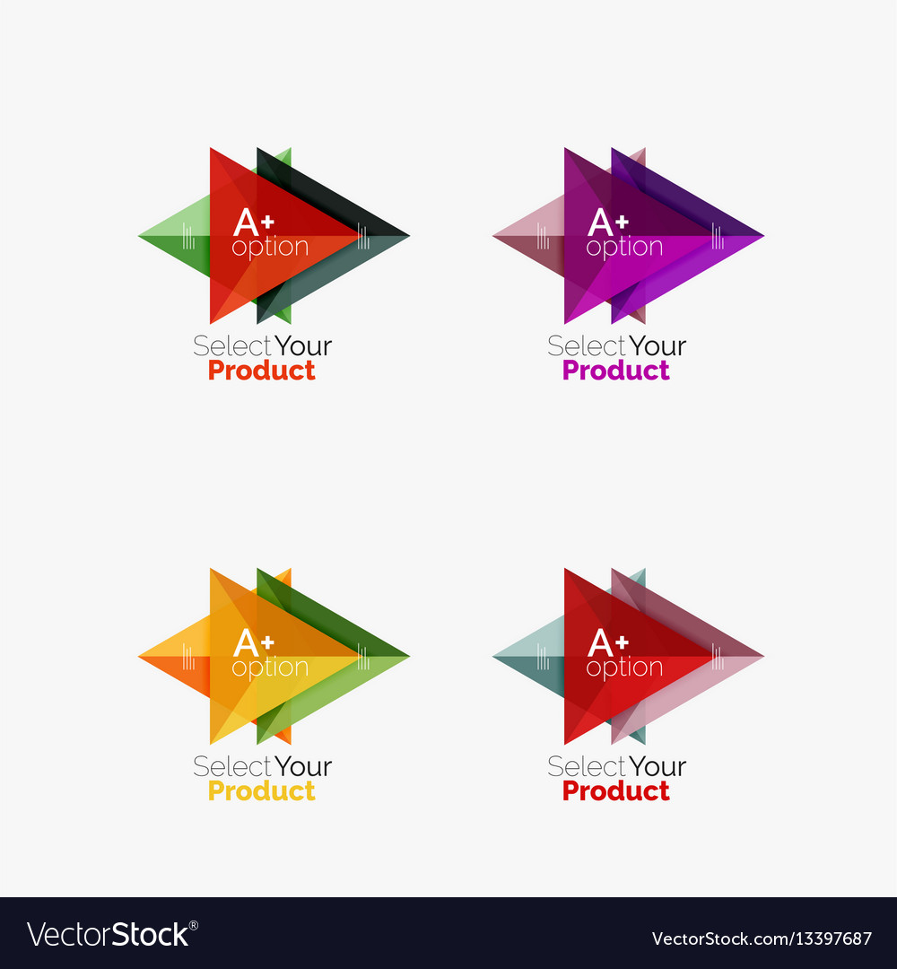 Set of triangle infographic layouts with text and