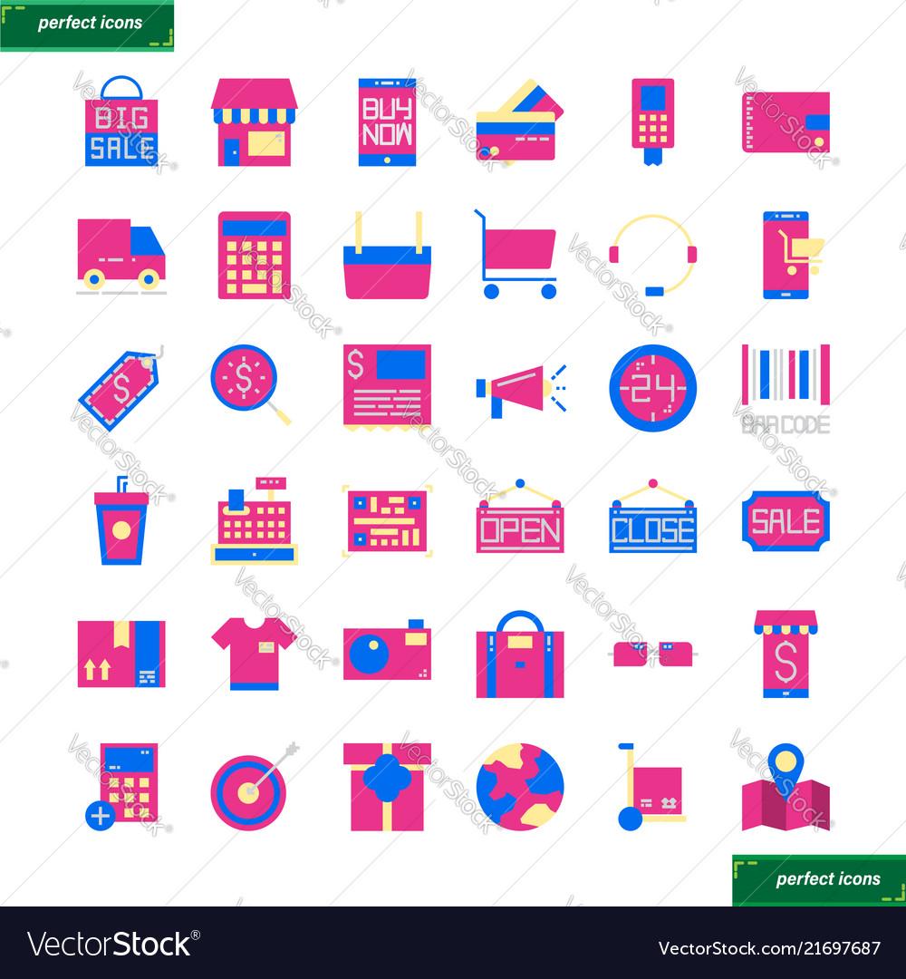 Shopping and ecommerce flat icons set