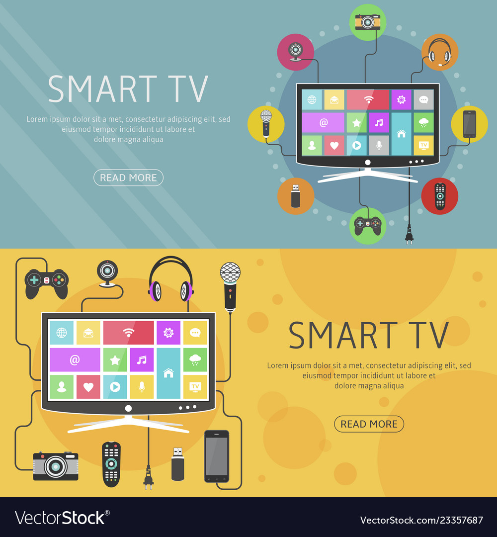 Smart tv flat design concept and banners modern