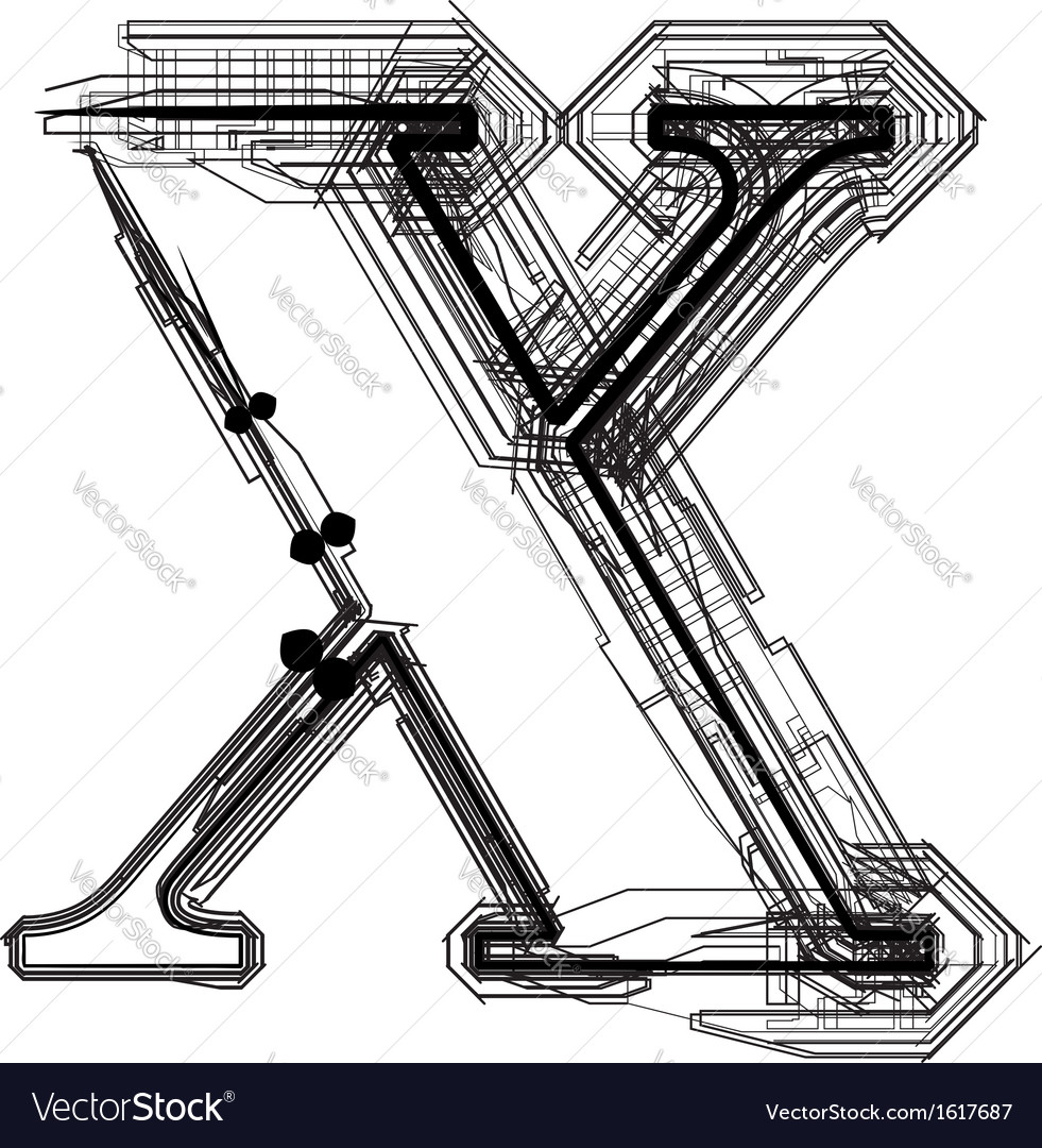 Technical typography Letter x vector image