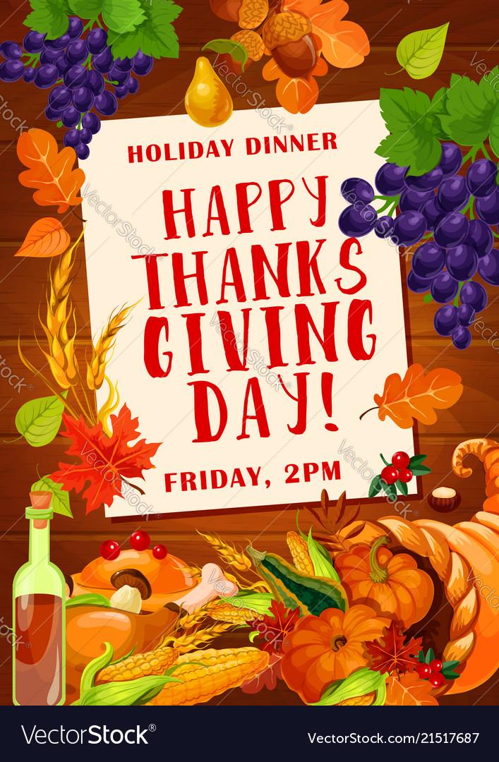 Thanksgiving day dinner invitation poster design